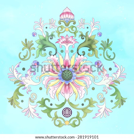Beautiful floral element of pattern for your design. Imitation of chinese porcelain painting. Watercolor background. Lotus flowers and leaves are painted by watercolor. - stock vector