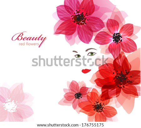Beautiful floral face. Pretty girl with bright red flowers. - stock vector