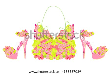 Beautiful floral female shoes and bags - stock vector