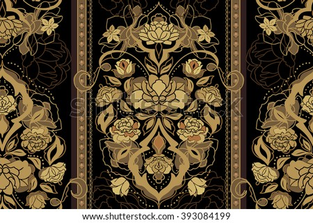 Beautiful floral golden and black classic victorian seamless pattern with rose, peony, gardenia flowers. Elegant vintage vector eastern background or texture - stock vector