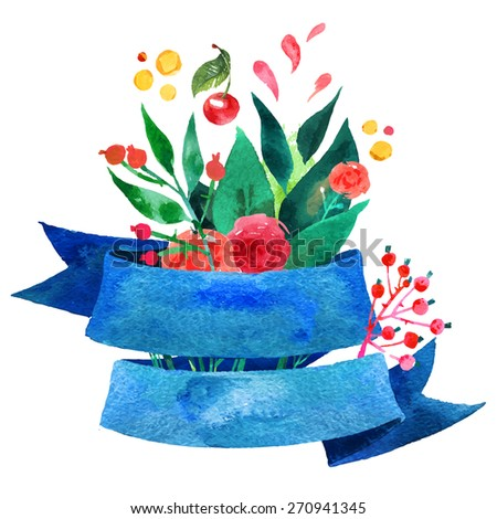 Beautiful Floral Greeting Card. Bright illustration, invitation card for wedding,birthday and holiday and cute summer background. Mother's Day floral greeting. Ribbon decorative illustration - stock vector