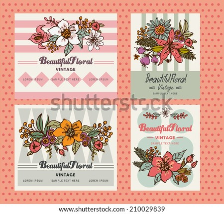 Beautiful Floral Greetings Card - stock vector