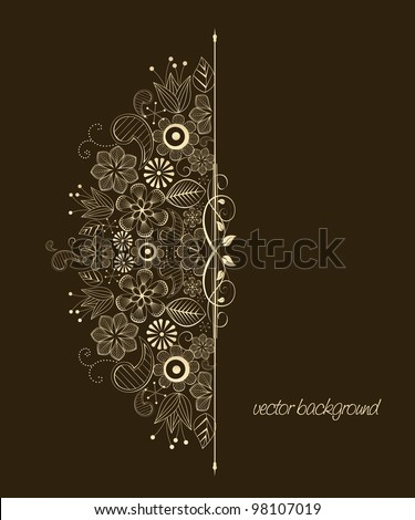 Beautiful floral illustration on brown background - stock vector