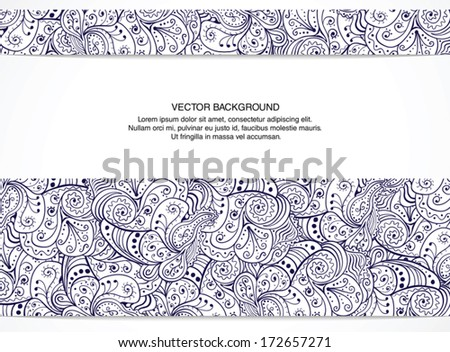 Beautiful floral invitation card. Black and white. Vector illustration