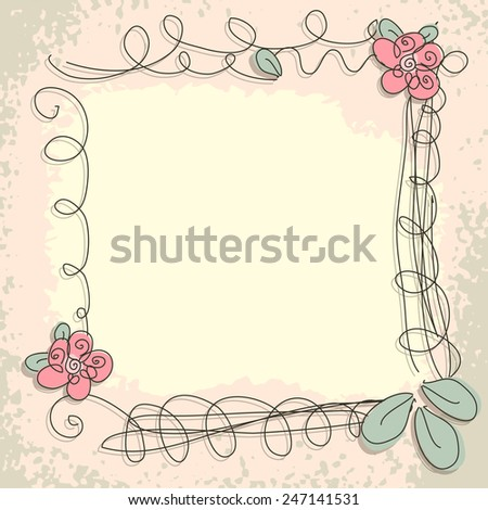 Beautiful floral invitation card. Vector doodle frame - stock vector