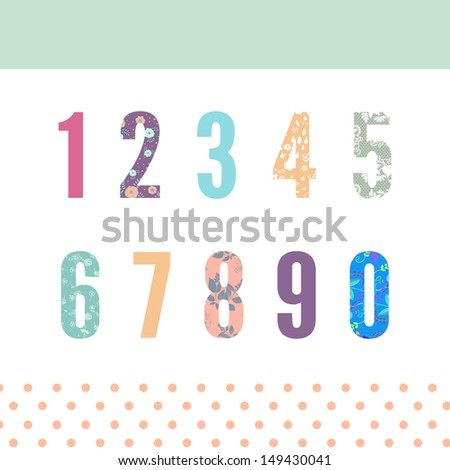 Beautiful floral numbers - stock vector