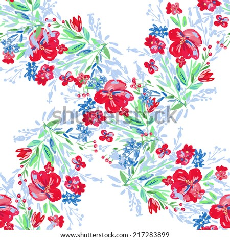 Beautiful floral pattern background. Flower bouquets - stock vector