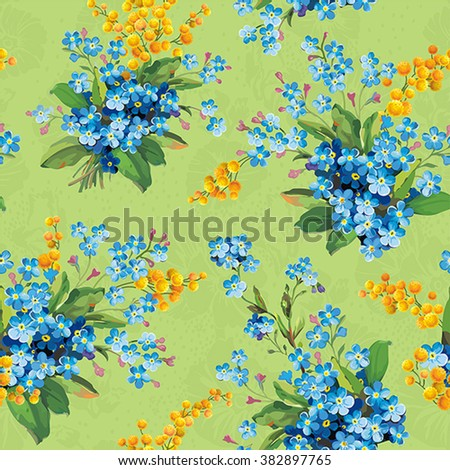 Beautiful floral seamless pattern. Abstract Elegance vector illustration texture with forget-me-not and mimosa - stock vector