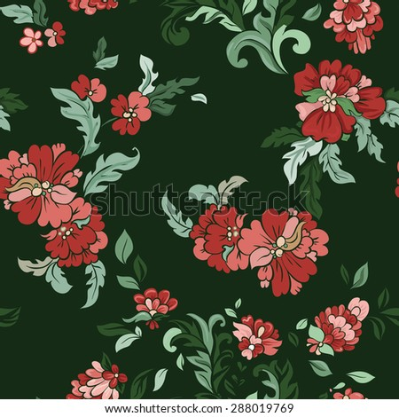 Beautiful  floral seamless pattern on green. Vector background.  - stock vector