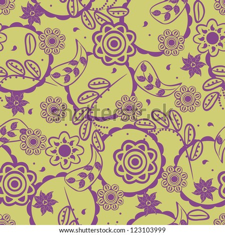 Beautiful floral seamless texture, endless pattern with flowers. - stock vector