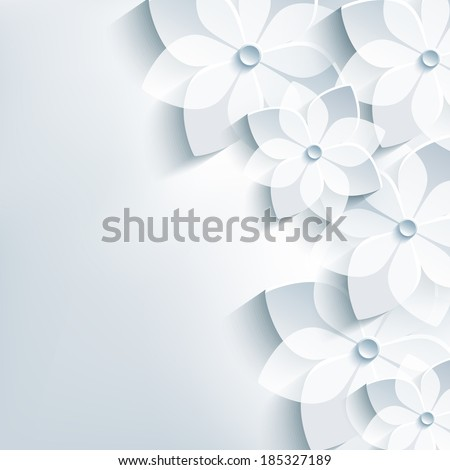 Beautiful floral trendy abstract background with 3d flower sakura. Stylish modern gray background. Greeting or invitation card for wedding, birthday and life events. Vector illustration - stock vector