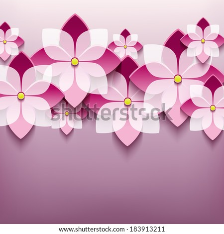 Beautiful floral trendy background with 3d flower sakura. Stylish modern background. Greeting or invitation card. Vector illustration - stock vector