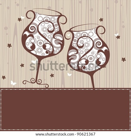 beautiful floral wine glass in brown color on brown border greeting cardfor New Year & other occasions. - stock vector