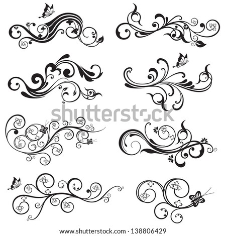 Beautiful flower and butterfly silhouettes design collection. This image is a vector illustration. - stock vector