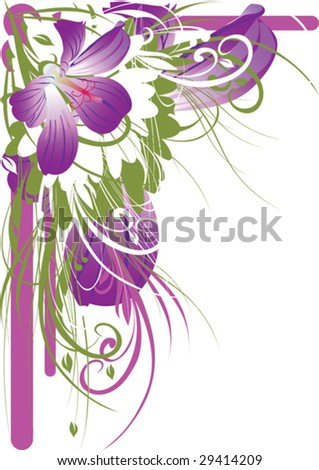 beautiful flower, background, border, branches - stock vector