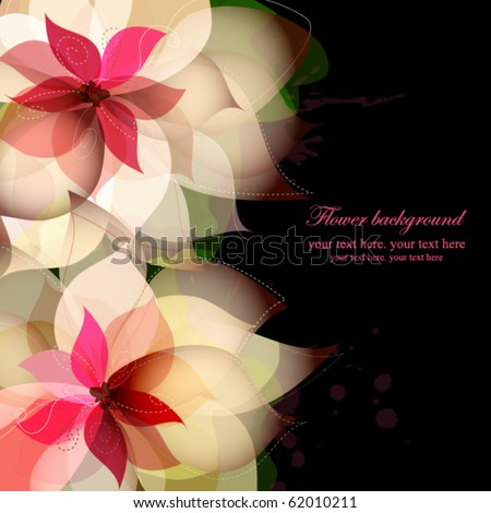 Beautiful flower background with splashes on black - stock vector