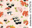 Beautiful flower Japan Seamless Pattern and other traditional Japanese food, vector illustration texture - stock vector
