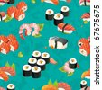 Beautiful flower Japan Seamless Pattern, vector illustration sushi texture - stock vector