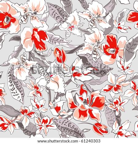 Beautiful flower seamless pattern, vector illustration texture - stock vector