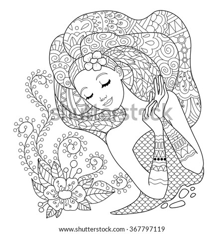 Beautiful flower woman. Design for the coloring book for adults. Coloring page, zentangle style, hand drawn vector print.  - stock vector
