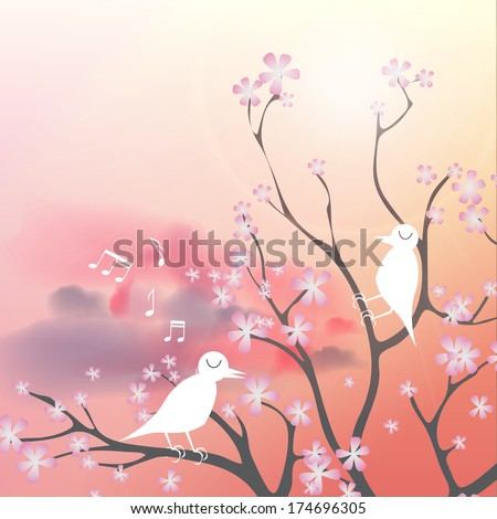 Beautiful Flowering Japanese Cherry Background with Flowers and Singing Birds on a Spring day - Vector Illustration