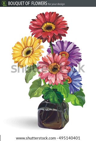 Beautiful Flowers Daisy Gerbera Vase Isolated Stock Vector 495140401