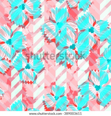 Beautiful flowers pattern on a coral zig zag background. Gently colors floral seamless. Vector floral graphic. - stock vector