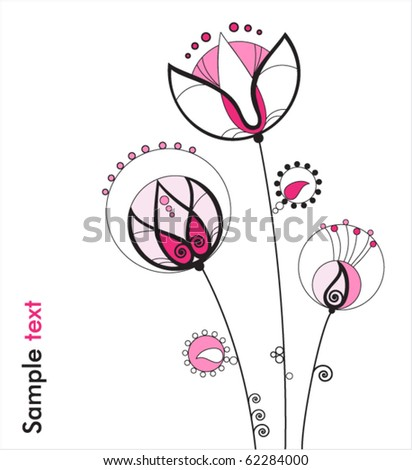 Beautiful flowers, stylized lily