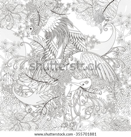 beautiful flying bird coloring page with floral elements in exquisite line - stock vector