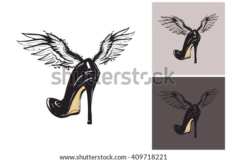 Beautiful flying black heel with angel wings vector hand drawn fashion sketch. Glamour vogue black heel. Isolated element on white, gray, black background. Trend fashion vector illustration