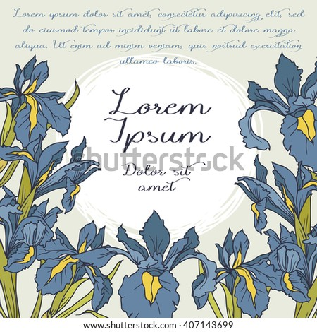 Beautiful frame with irises flowers and place for text, vector illustration - stock vector