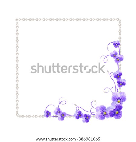 Beautiful frame with violet flowers and pearls isolated on white background for greeting card or invitation design. - stock vector