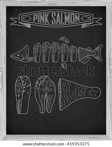 Beautiful fresh salmon closeup side view drawn with chalk. Pink salmon cutting scheme black and white colors. Menu on blackboard