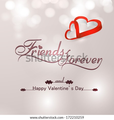 Beautiful friends forever for happy valentine's day heart stylish text colorful background vector
