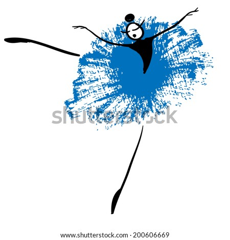 Beautiful funny ballerina. Vector dance. Vector dancers. Danse grunge. Dancing girls. Dancing silhouette  withspots and splashes on white background. Vector illustration. - stock vector