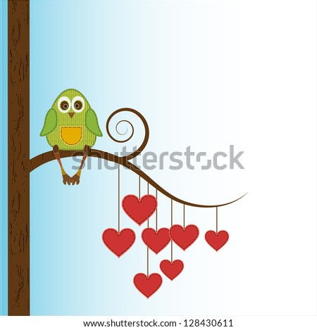 beautiful funny owl sit on heart tree - stock vector
