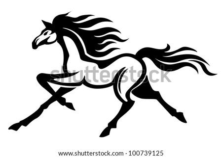Beautiful gallop running black stallion. Vector illustration - stock vector