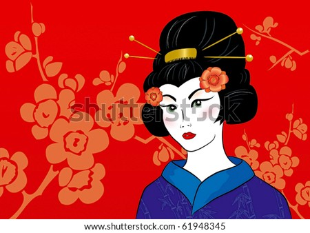 Beautiful geisha in a kimono on a red floral background - stock vector