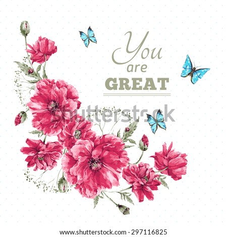 Beautiful gentle watercolor vintage summer vignette with red poppies, blue butterflies and ladybird on white background, watercolor vector illustration - stock vector
