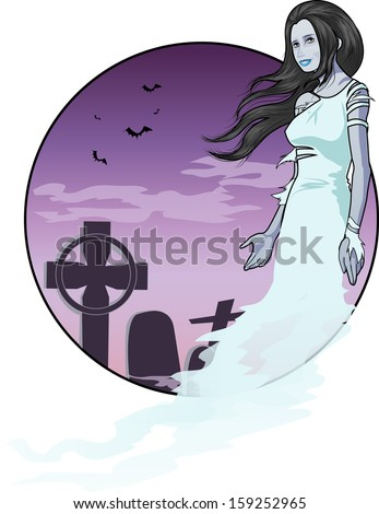 Beautiful ghost woman on night cemetery background halloween character