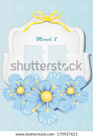 Beautiful gift card with blue paper flowers  - stock vector