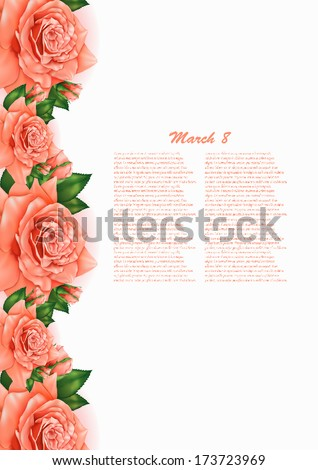 Beautiful gift card with pastel roses , may be used as a Mother's Day congratulation  - stock vector