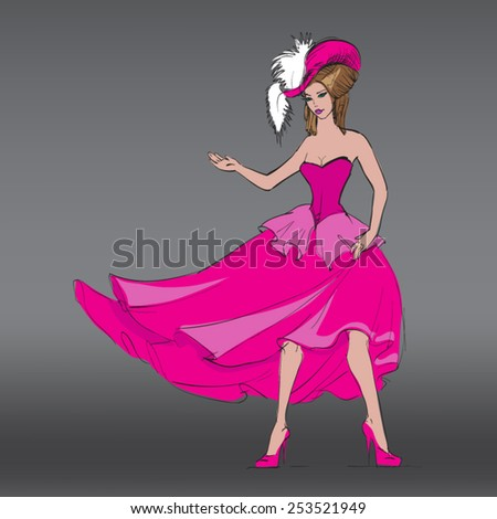 beautiful girl cabaret clothes and hat vector - stock vector