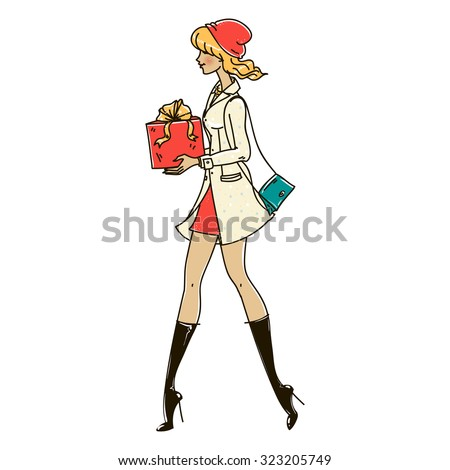 Beautiful girl carries a Christmas present. Happy New Year. Isolated vector illustration on white background. - stock vector