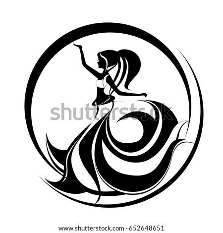 Beautiful Girl Dancing Belly Dance Oriental Stock Vector 652648651