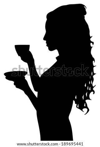 Beautiful Girl Drinking Tea or Coffee, vector  - stock vector