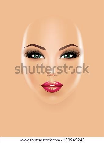 Beautiful girl face - stock vector
