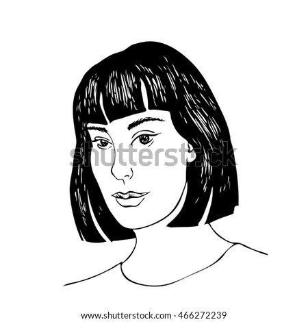 beautiful girl face sketch isolated  black and white