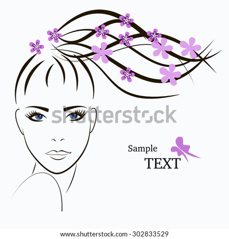 Beautiful girl face with flowers. Woman face vector. - stock vector