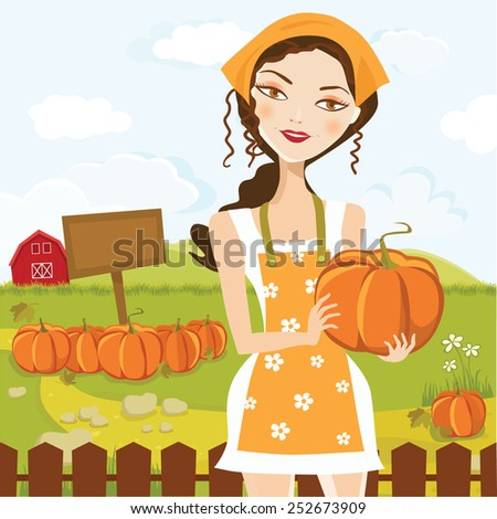 Beautiful girl harvesting pumpkin in the farm for the thanksgiving day. - stock vector